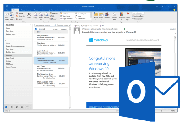 Outlook office 2019