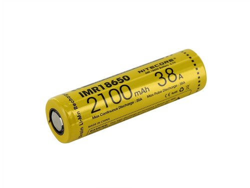 Bateria 18650 Li-Ion IMR 18650 V1 3.7V 2100mAh High Drain 38A Flat Top - Nitecore