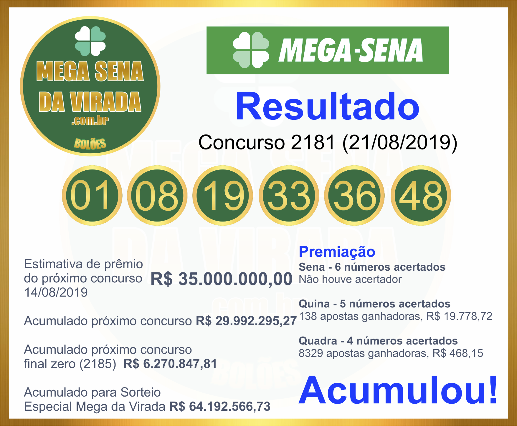 Mega Sena Concurso 2181 21/08/2019