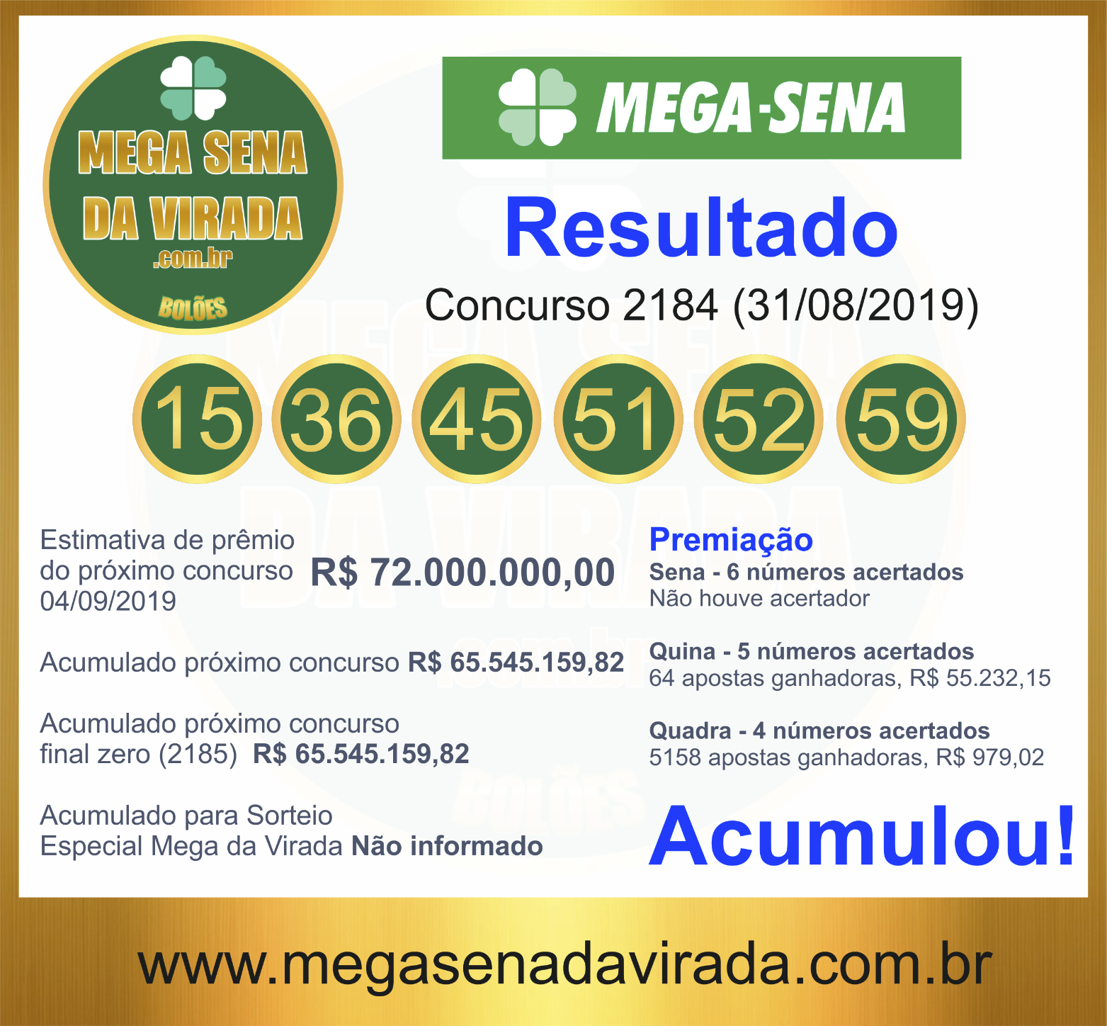 Mega Sena Concurso 2184 28/08/2019