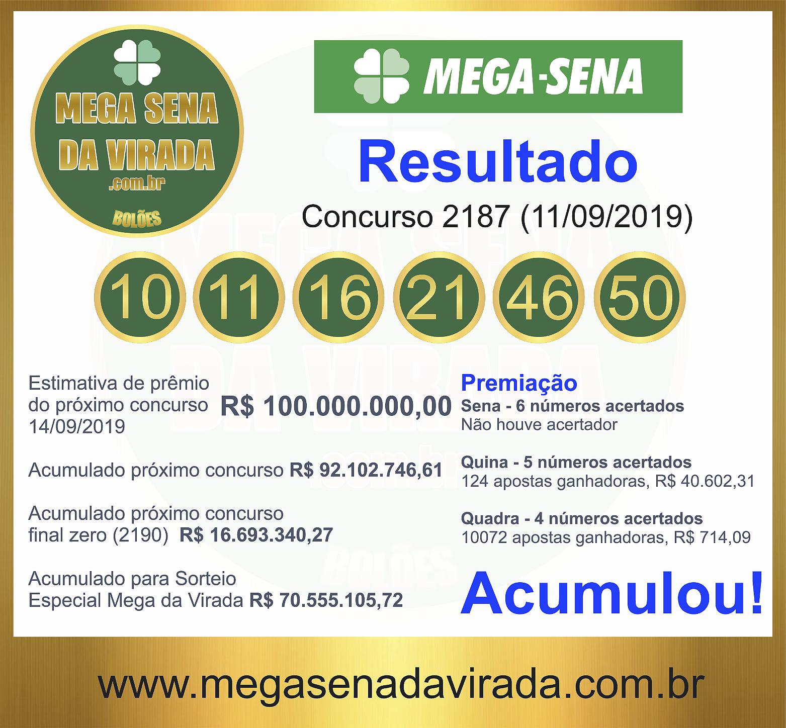Mega Sena Concurso 2187 11/09/2019
