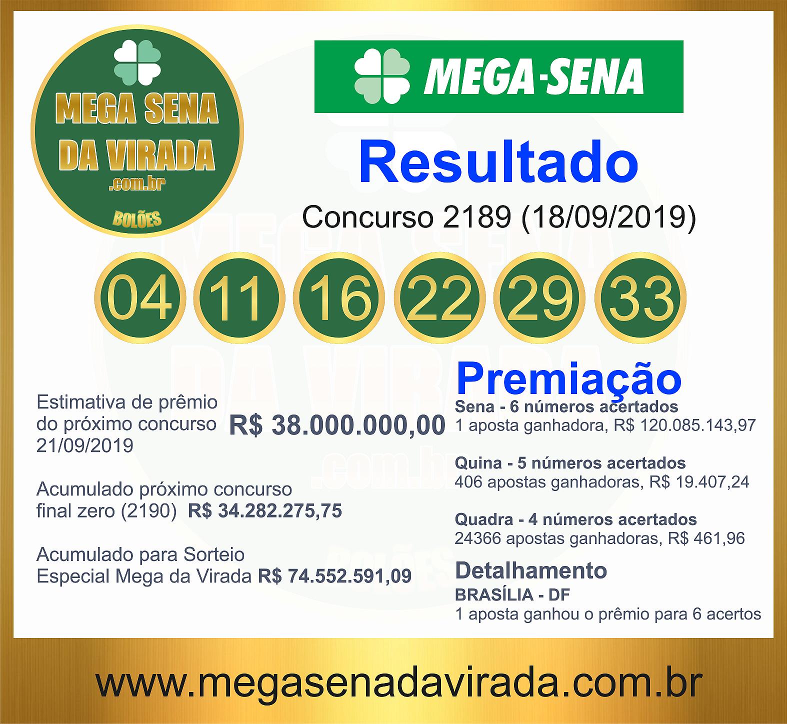 Mega Sena Concurso 2189 18/09/2019