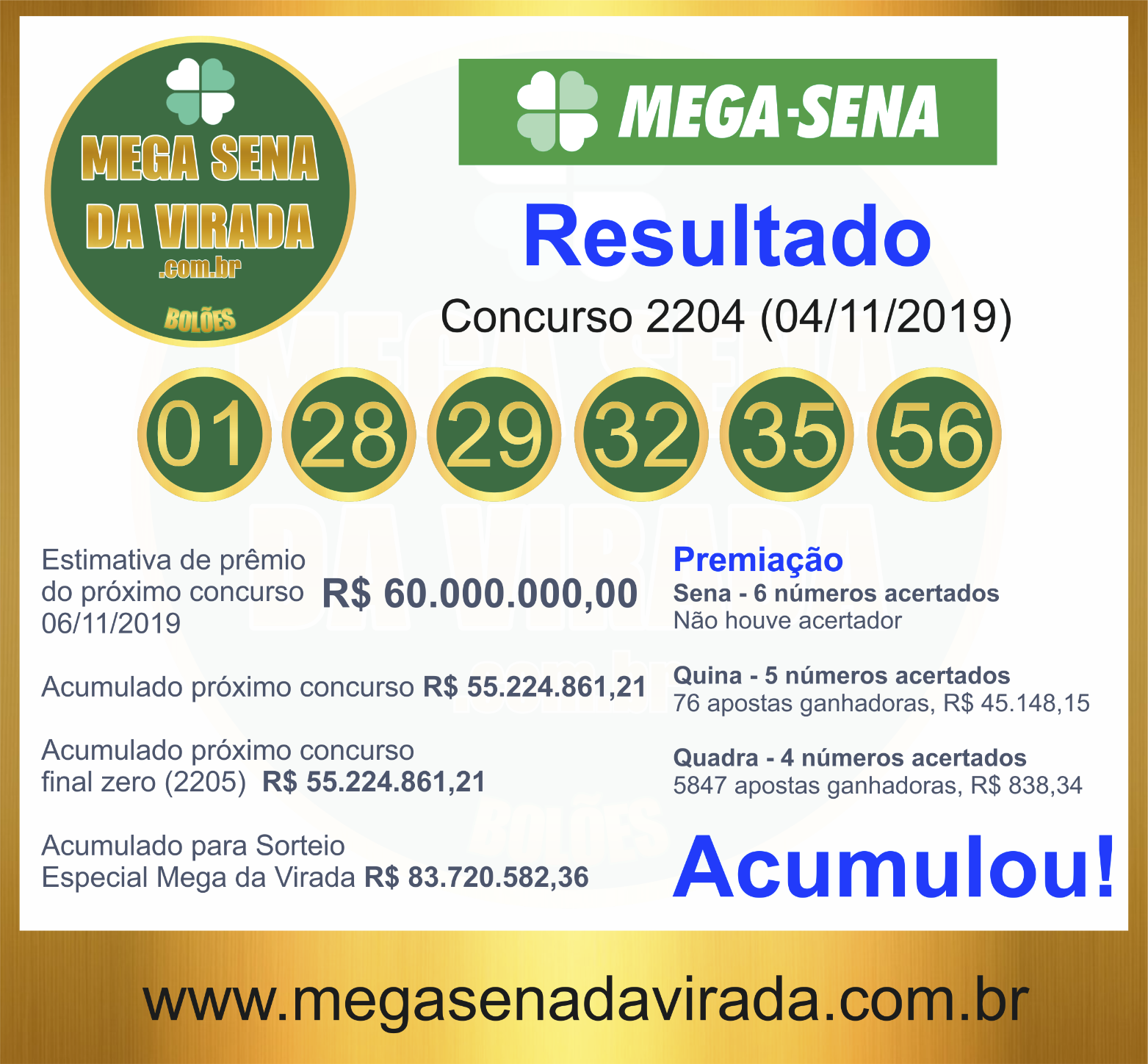 Mega Sena Concurso 2204 04/11/2019