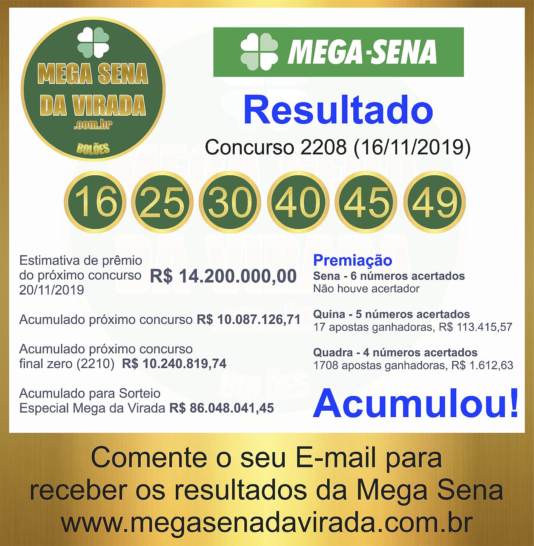 Mega Sena Concurso 2208 16/11/2019