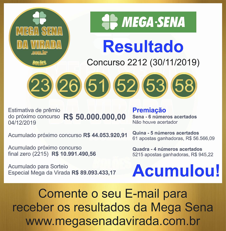 Mega Sena Concurso 2212 30/11/2019