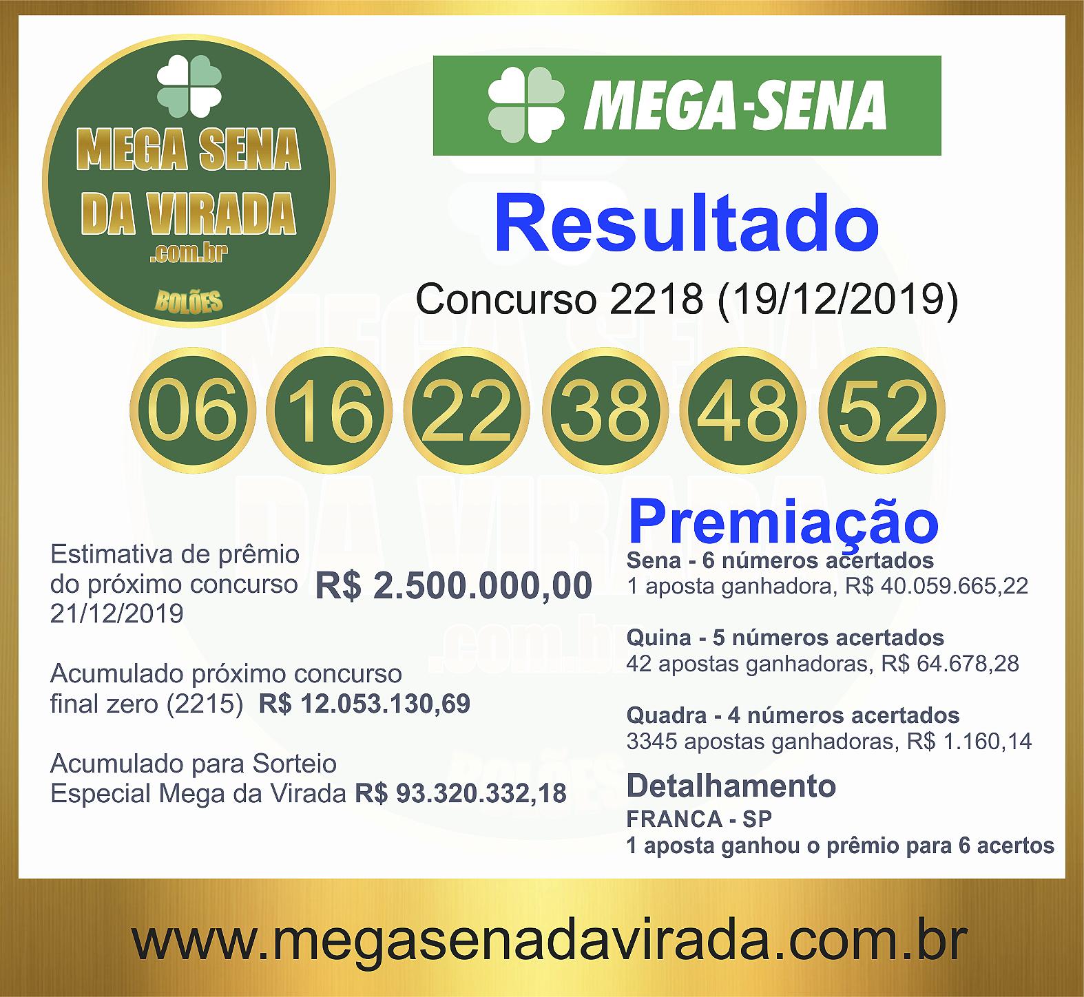Mega Sena Concurso 2218 19/12/2019