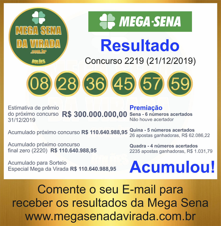 Mega Sena Concurso 2219 21/12/2019