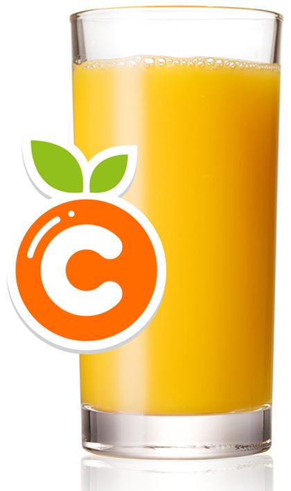 Copo de suco de laranja, fonte de vitamina C
