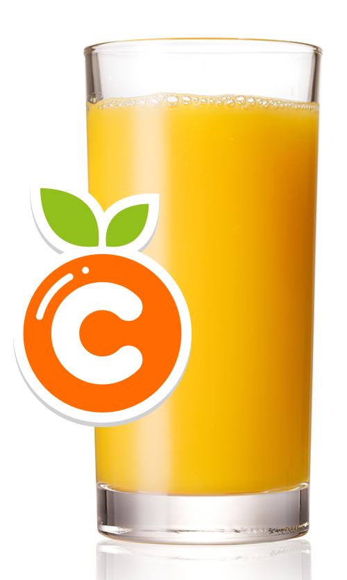 Copo com suco de laranja