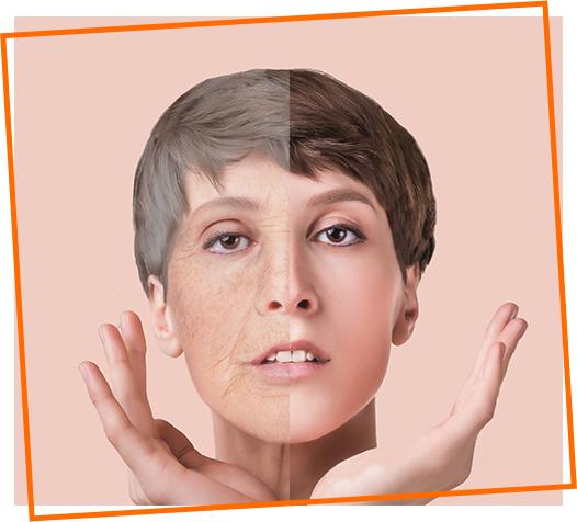 Comparação pele jovem X pele velha