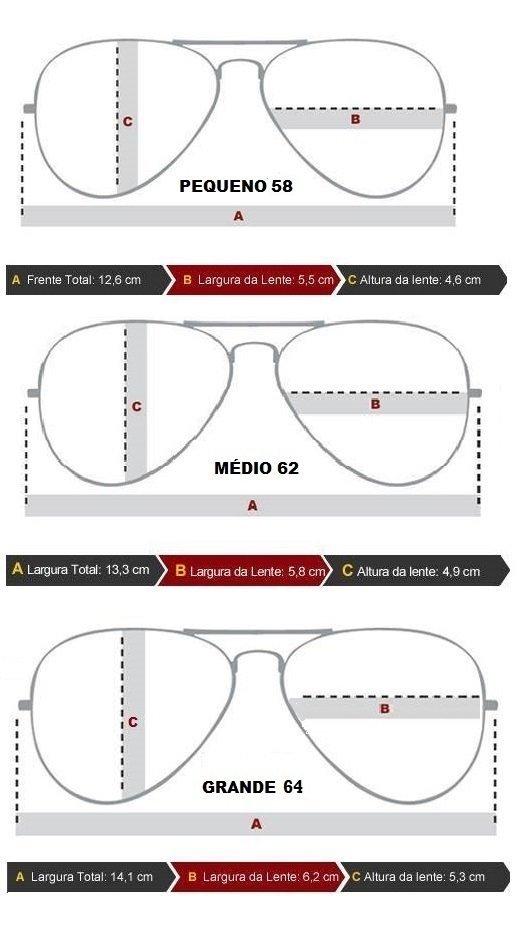 Óculos Ray ban Avidor tamanhos P Rb3024, M Rb3025, G Rb3062