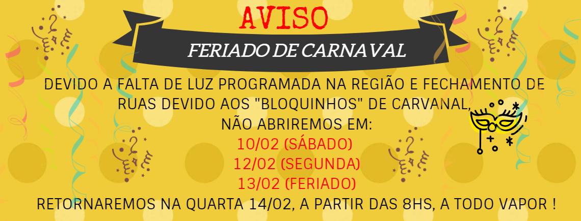 Aviso - feriado - carnaval 2018