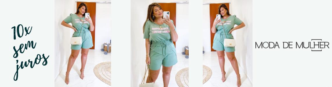 conjunto short e t shirt verde