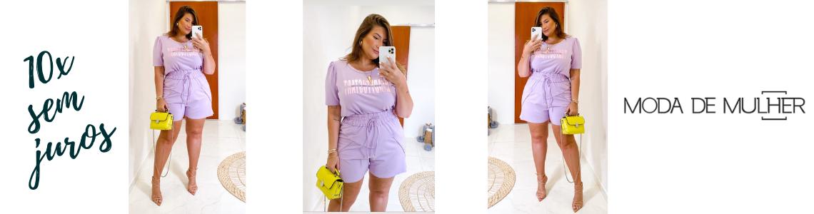 conjunto t shirt e short lilas