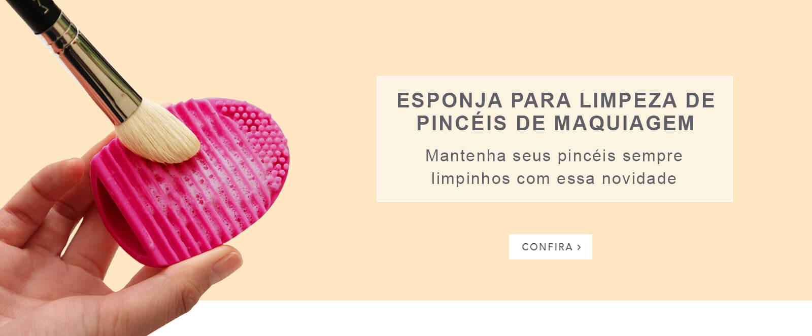 Banner Esponja Limpeza pincel maquiagem