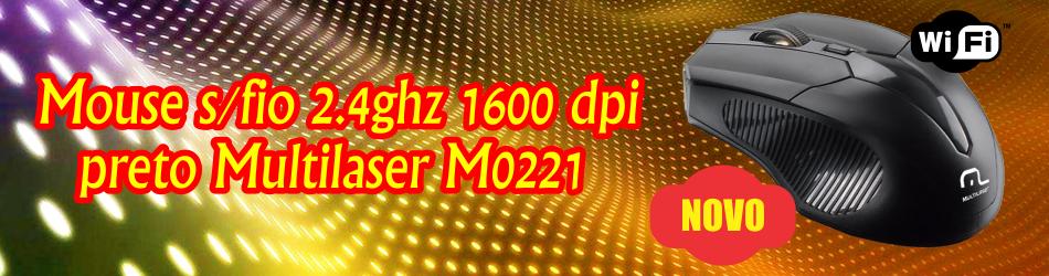 MOUSE S/FIO 2.4GHZ 1600 DPI PRETO MULTILASER Mo221