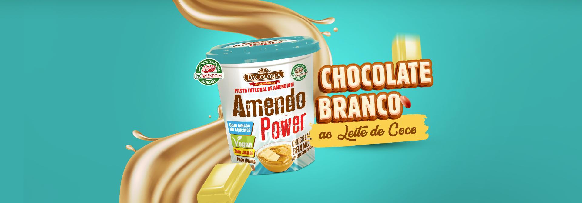 Banner Amendo Power Chocolate Branco