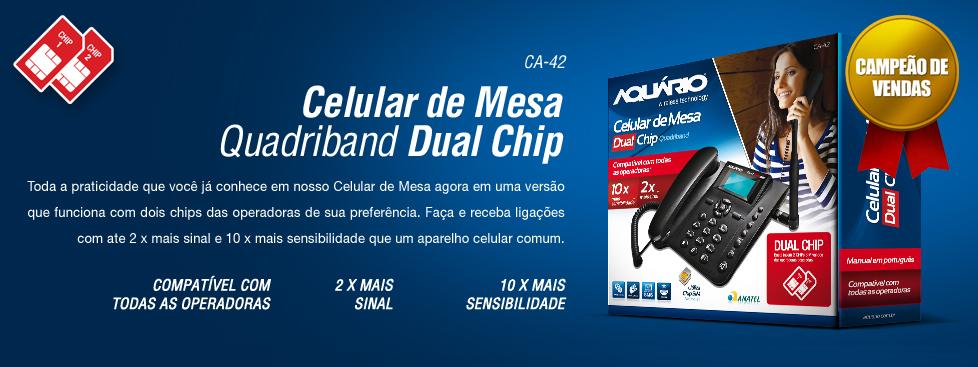 Telefone Celular de Mesa Dual Chip - CA-42 - Aquário