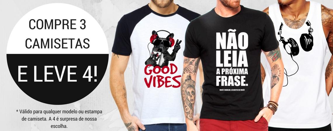Compre 3 Leve 4 Camisetas Masculinas