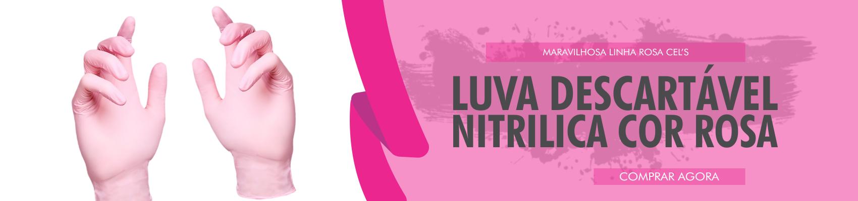 LUVA NITRÍLICA ROSA - 12 UNIDADES