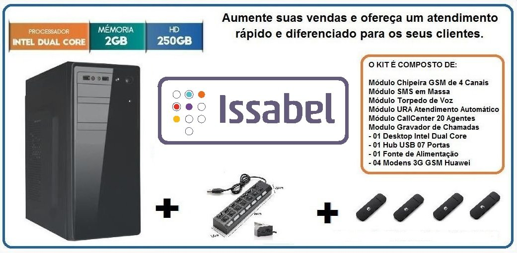 Callcenter SMS Chipeira URA Combo Elastix