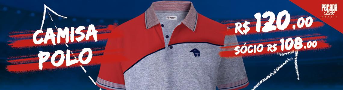 Camisa Polo Cinza/Vermelho
