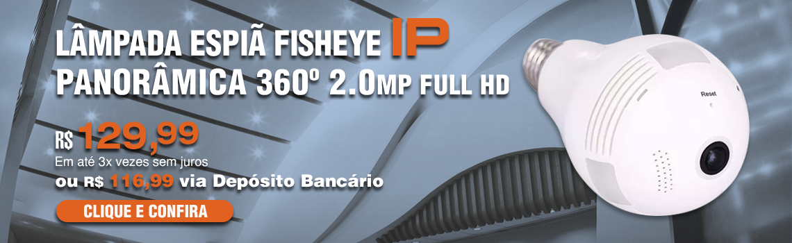Lampada Espia Fisheye 2.0MP Full HD