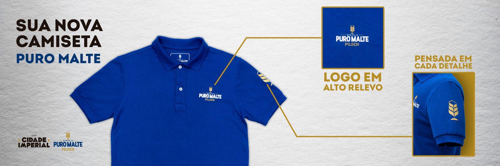 Camiseta Polo Puro Malte em Alto Relevo - Azul