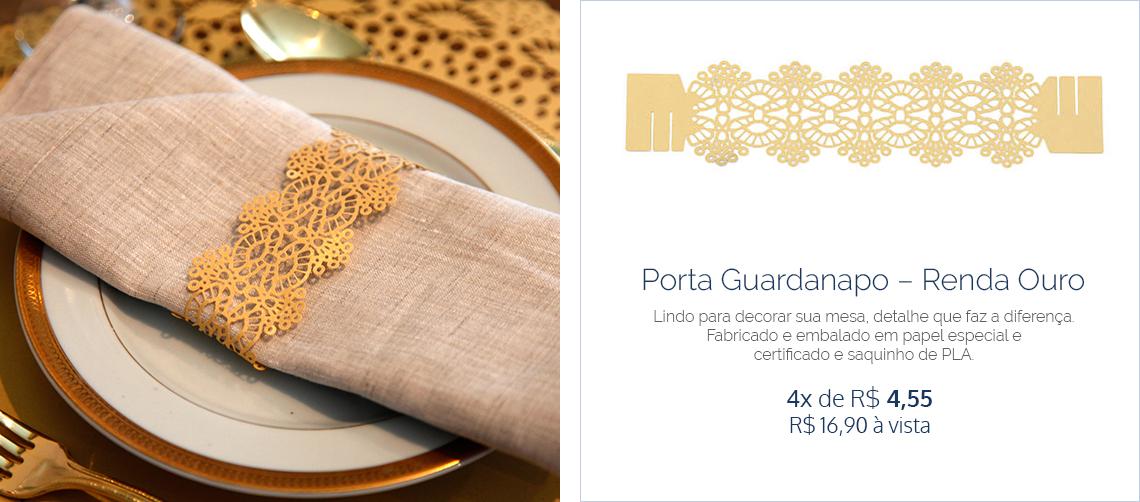 PORTA GUARDANAPO - RENDA OURO