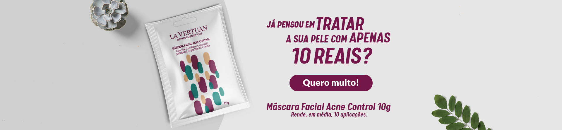 Sachê máscara facial acne control