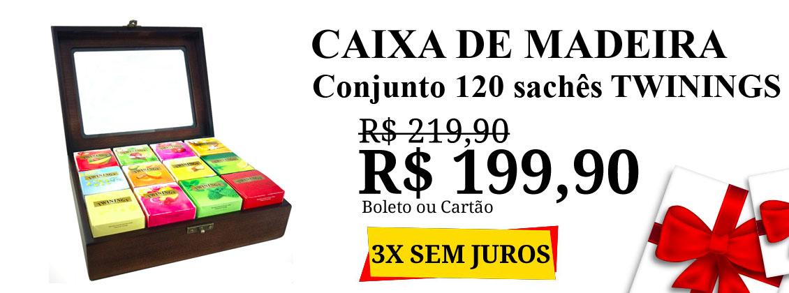 caixa madeira 120 saches R$ 199,90