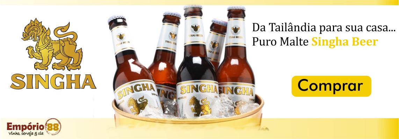 A cerveja Singha é uma cerveja Puro Malte produzida o estilo Lager na Tailândia