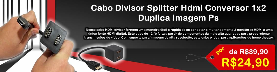 Cabo Divisor Splitter Hdmi Conversor 1x2