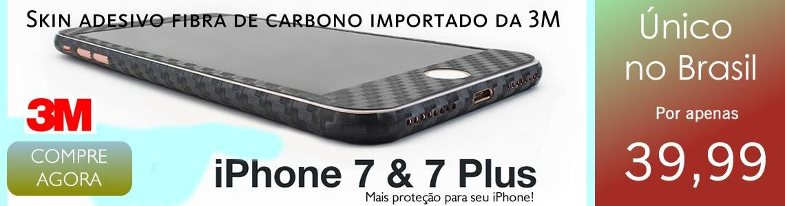 Capa Adesiva Skin Fibra de Carbono iPhone 7 Plus