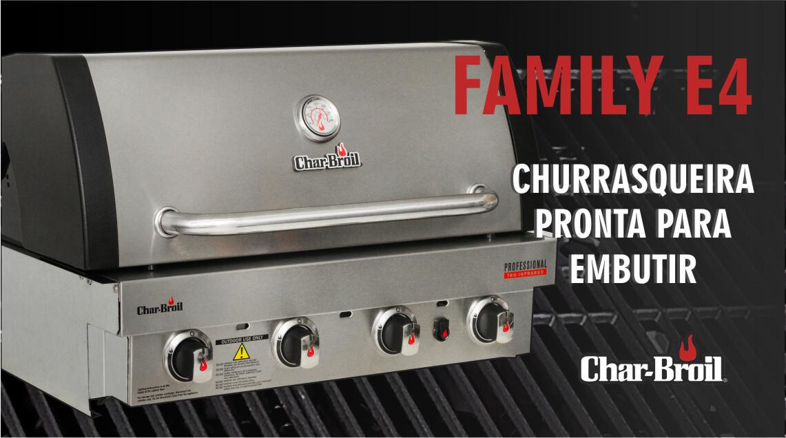 Churrasqueira Char-Broil de Embutir - Family E4 - 4 Queimadores a gás