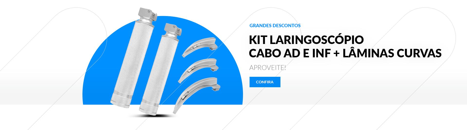 Kit Laringoscópio com Cabo Adulto e Infantil + Lâminas 1, 2 e 4 - Protec