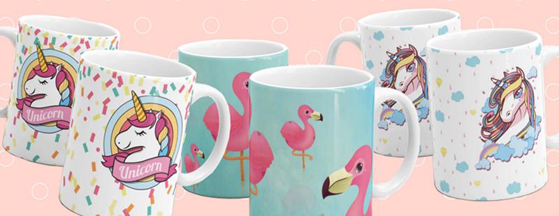 canecas flamingo e unicornio