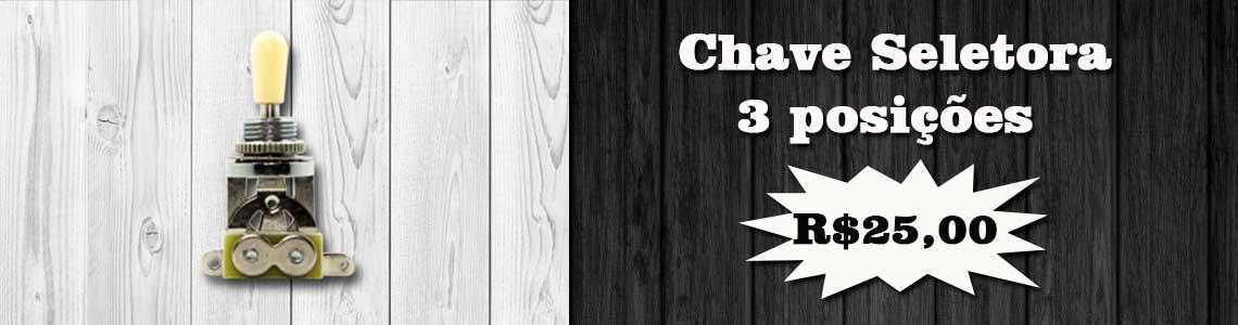 Chave Seletora 3 Posições Para Guitarra (Knob Creme)