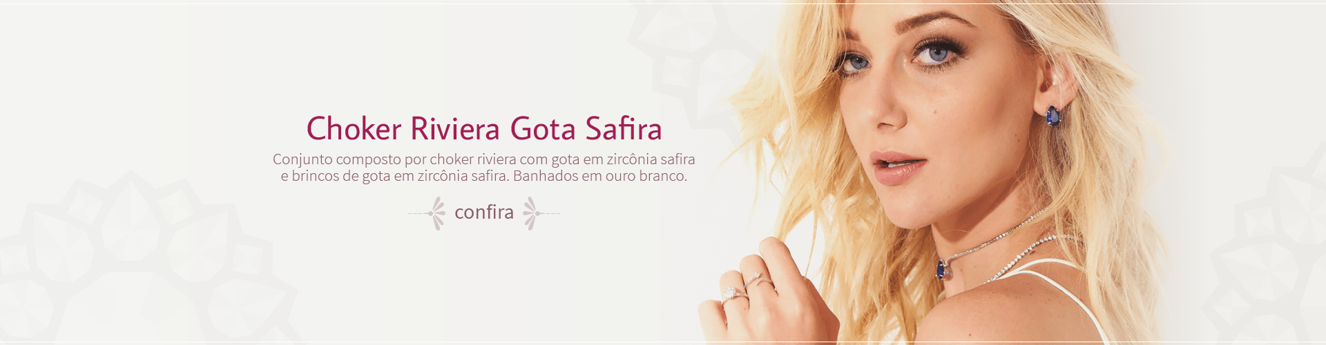 Choker Riviera Gota Safira