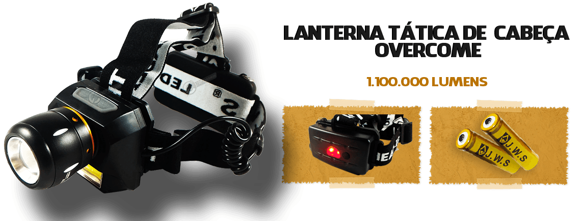 Lanterna de Cabeça Overcome 1.100.000 Lumens