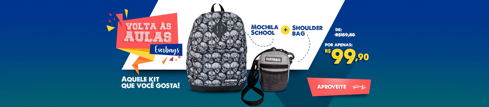 Volta As Aulas Mochila School + Shoulder Bag