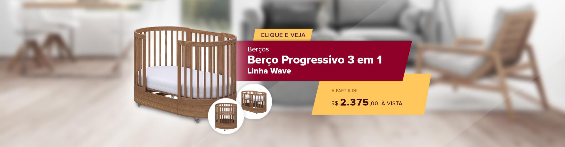 Berço Progressivo 3 em 1 - Linha Wave