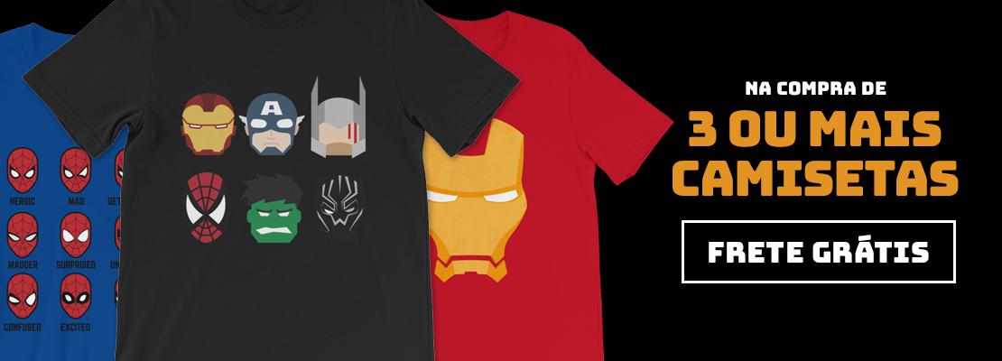 3 Camisetas = Frete Grátis (OUT-DEZ/2019)