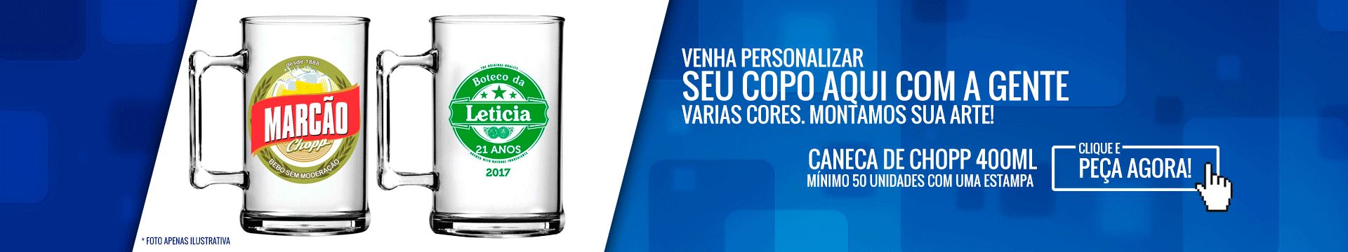 Full Banner Caneca de chopp de 400 ml