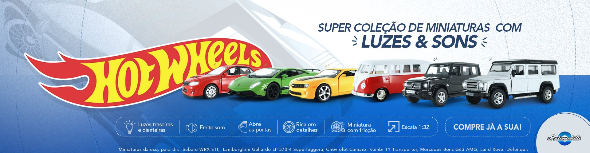 Hot Wheels Som e Luzes 1/32