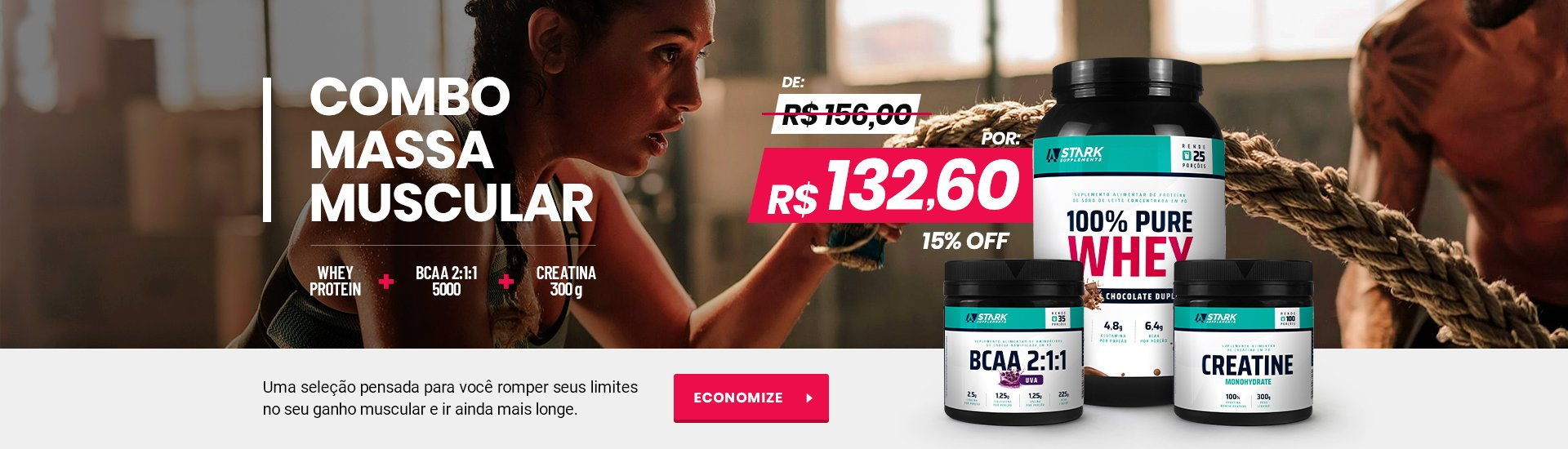 Kit Creatina, Whey e BCAA