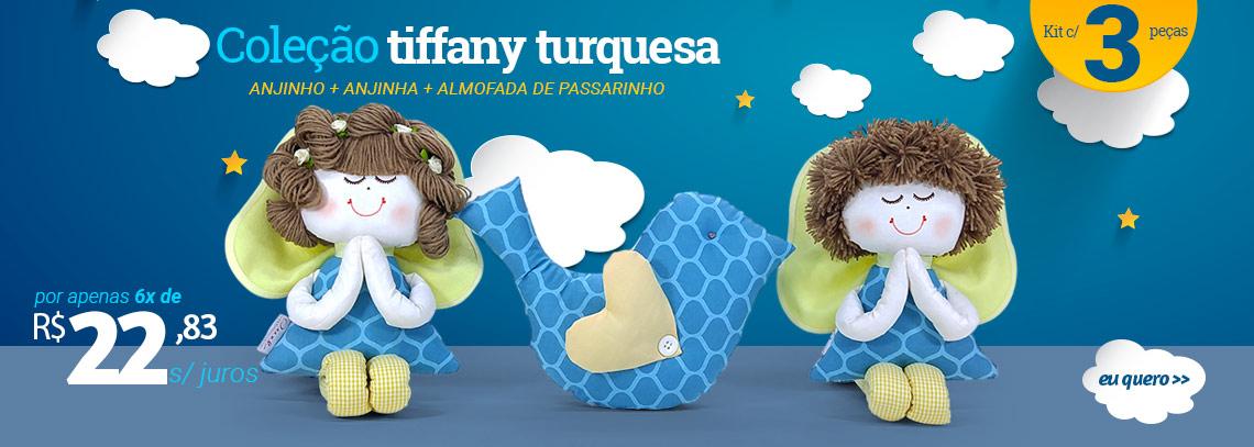 ANJINHO + ANJINHA + ALMOFADA DE PASSARINHO TIFFANY TURQUESA