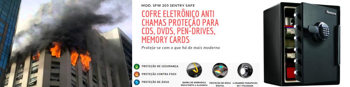 COFRE ELETRÔNICO ANTI CHAMAS PROTEÇÃO PARA CDS, DVDS, PEN-DRIVES, MEMORY CARDS MOD. SFW 205 SENTRY SAFE