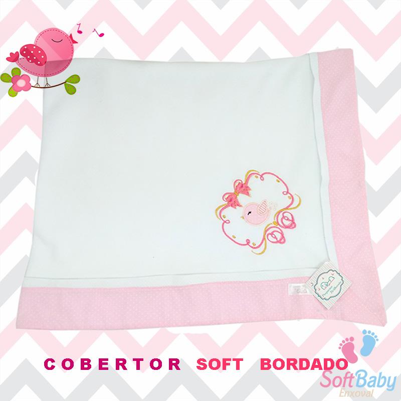 Cobertor soft com barrado rosa 2