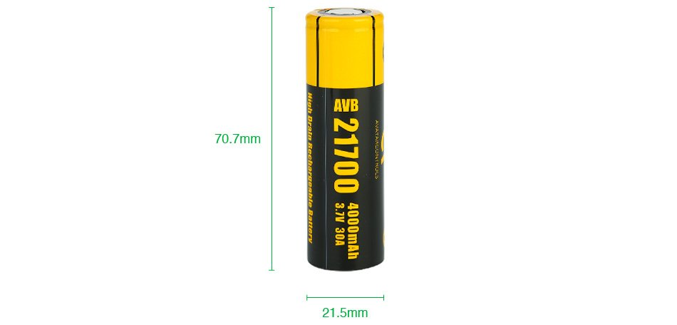 Bateria AVB 21700 Li-Ion 21700 3.7V 4000mAh High Drain 30A Flat Top - Avatar